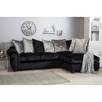 Mason and pearl Madison black crushed velvet corner sofa, right hand