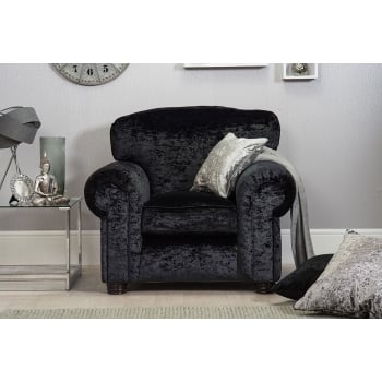 Mason and pearl Madison black crushed velvet armchair
