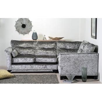Mason and pearl Vesper silver crushed velvet corner sofa, right hand