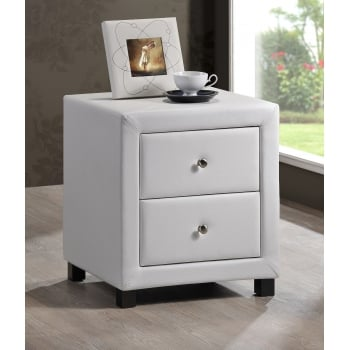 Time living Chelsea white pu leather bedside cabinet