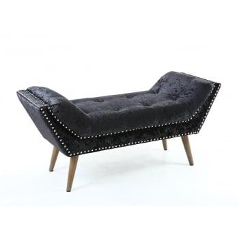 Shankar Mulberry black crushed velvet chaise