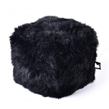 Extreme lounging B box black fur pouffe