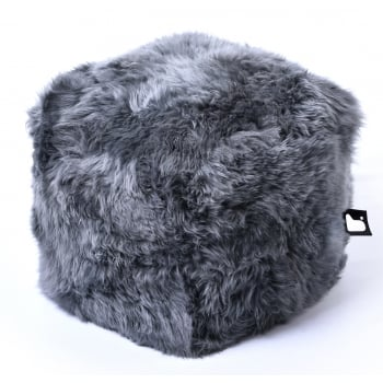 Extreme lounging B box grey fur pouffe