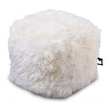 Extreme lounging B box cream fur pouffe