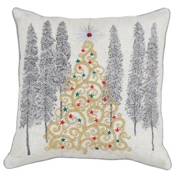 Riva paoletti Advent xmas tree cushion cover, cream, 45cm