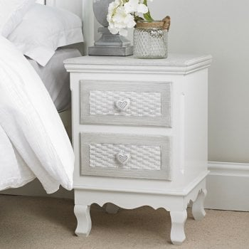Lpd furniture Brittany vintage shabby chic 2 drawer bedside