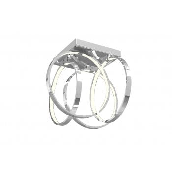 Hudson Abstract 4 Arm Flush Square Head With Small Circle Led Lamps In Chrome