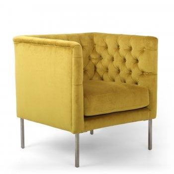 Shankar Chelsea yellow brushed velvet armchair