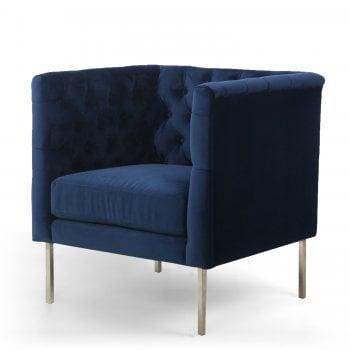 Shankar Chelsea indigo blue brushed velvet armchair