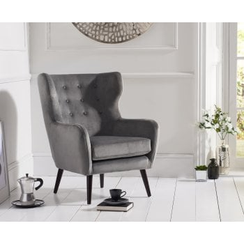 Mark harris Adrianna grey plush velvet accent chair