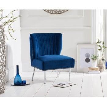 Mark harris Lara blue plush velvet accent chair