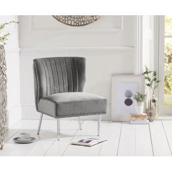 Mark harris Lara grey plush velvet accent chair