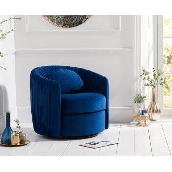 Mark harris Sarana swivel blue plush velvet accent chair