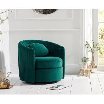 Mark harris Sarana swivel green plush velvet accent chair