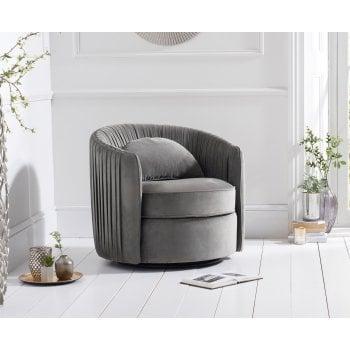 Mark harris Sarana swivel grey plush velvet accent chair