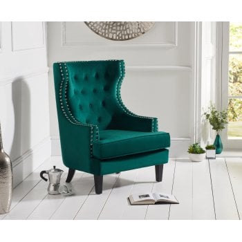 Mark harris Portia green plush velvet highback arm chair