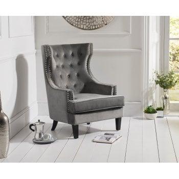 Mark harris Portia grey plush velvet highback arm chair