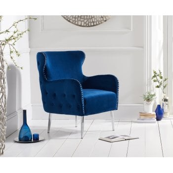 Mark harris Bina blue plush velvet armchair