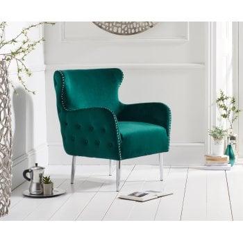 Mark harris Bina green plush velvet armchair