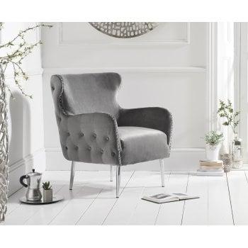 Mark harris Bina grey plush velvet armchair