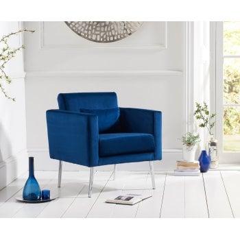 Mark harris Jennifer blue plush velvet accent arm chair