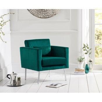 Mark harris Jennifer green plush velvet accent arm chair