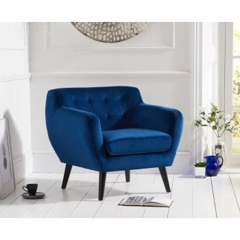 Mark harris Tina blue plush velvet accent chair