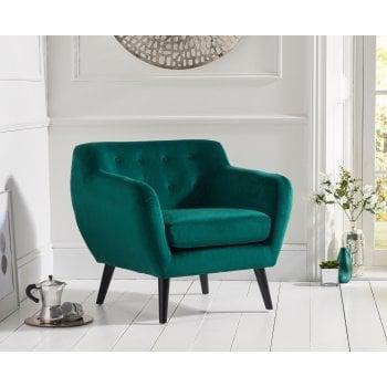 Mark harris Tina green plush velvet accent chair