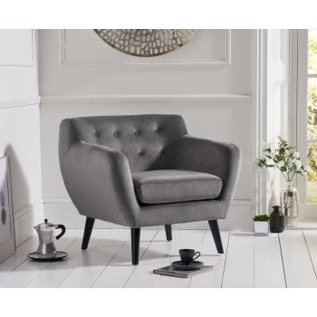Mark harris Tina grey plush velvet accent chair