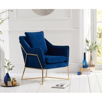 Mark harris Larna blue plush velvet accent chair