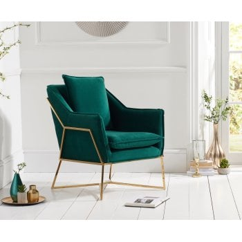 Mark harris Larna green plush velvet accent chair