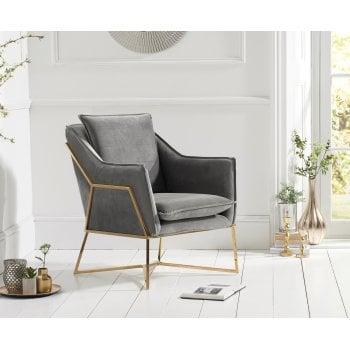 Mark harris Larna grey plush velvet accent chair