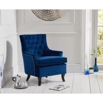 Mark harris Barney blue plush velvet button back arm chair