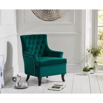 Mark harris Barney green plush velvet button back arm chair