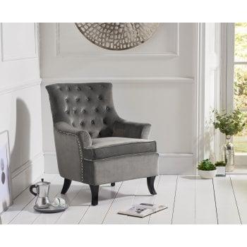 Mark harris Barney grey plush velvet button back arm chair