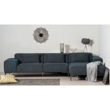 Mason and pearl Jasper denim blue fabric corner sofa, right hand