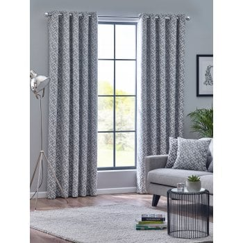 Belfield furnishings Byron monochrome geometric readymade eyelet curtains