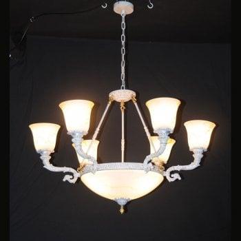 All home marbella 5351 9 light white copper chandelier