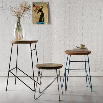 Indian hub Aspen large set of 3 stools