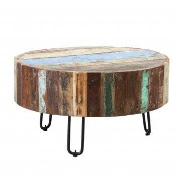 Indian hub Coastal drum coffee table