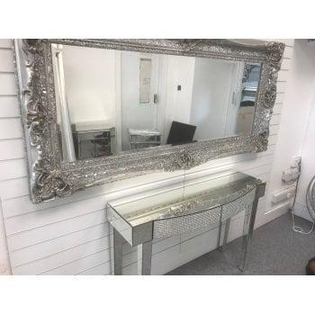 All home marbella Baroque silver crystal ornate mirror 90 x 200cm