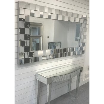 All home marbella Checkers large silver bevelled mirror 102 x 205cm