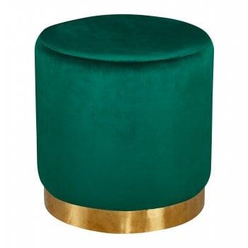 Lpd furniture Lara green plush velvet pouffe