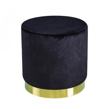 Lpd furniture Lara black plush velvet pouffe