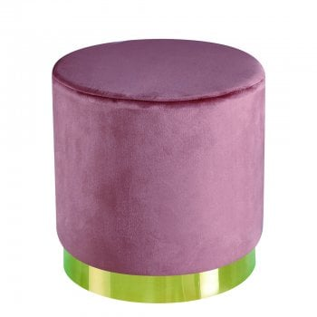 Lpd furniture Lara pink plush velvet pouffe