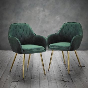 Lpd furniture Lara forest green velvet chairs pair
