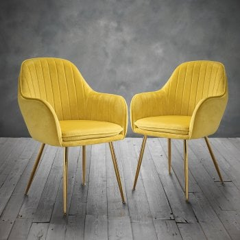 Lpd furniture Lara ochre velvet chairs pair