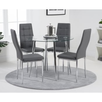 Mark harris Carolina 90cm glass dining set with grey chairs