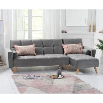 Mark harris Abigail grey velvet corner sofa right hand