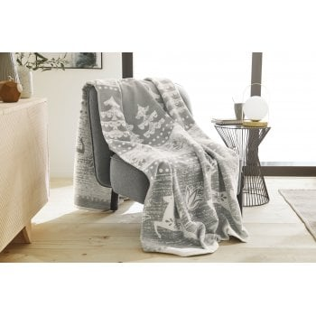Ibena Aspen grey stag and tree jacquard blanket, 150 x 200cm